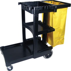 FG617388BLA BLACK JANITOR CART W/ZIPPERED YELLOW BAG 1/CS