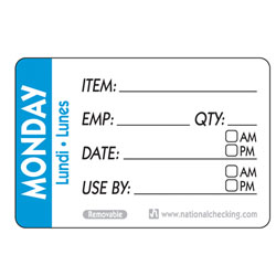 MONDAY TRILINGUAL LABEL DATE USE BY REMOVABLE 500/RL