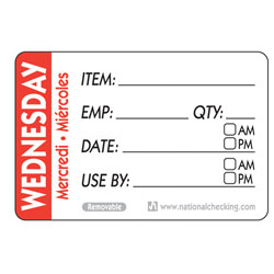 WEDNESDAY TRILINGUAL LABEL DATE USE BY REMOVABLE 500/RL