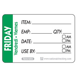 FRIDAY TRILINGUAL LABEL DATE USE BY REMOVABLE 500/RL