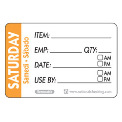 SATURDAY TRILINGUAL LABEL DATE USE BY REMOVABLE 500/RL